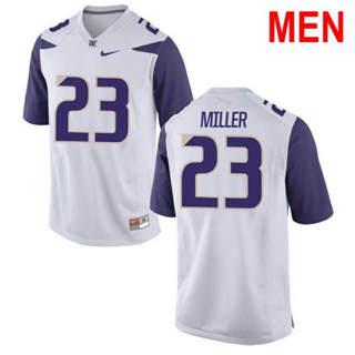Men's Washington Huskies #23 Jordan Miller White Football Jersey
