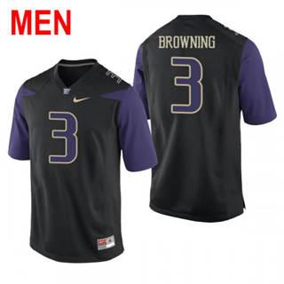 Men's Washington Huskies #3 Jake Browning Black Football Jersey