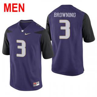 Men's Washington Huskies #3 Jake Browning Purple Football Jersey