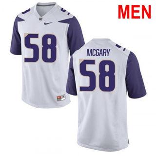 Men's Washington Huskies #58 Kaleb McGary White Football Jersey
