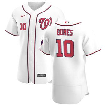 Men's Washington Nationals #10 Yan Gomes White Home 2020 Authentic Player Baseball Jersey