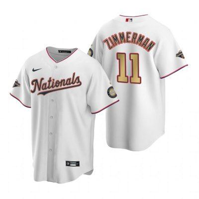 Men's Washington Nationals #11 Ryan Zimmerman White Alternate 2020 Gold Program Baseball Player Jersey