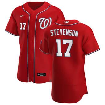 Men's Washington Nationals #17 Andrew Stevenson Red Alternate 2020 Authentic Player Baseball Jersey