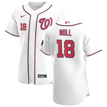 Men's Washington Nationals #18 Jake Noll White Home 2020 Authentic Player Baseball Jersey