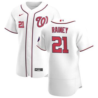 Men's Washington Nationals #21 Tanner Rainey White Home 2020 Authentic Player Baseball Jersey