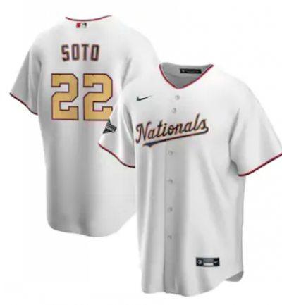 Men's Washington Nationals #22 Juan Soto White Alternate 2020 Gold Program Baseball Player Jersey