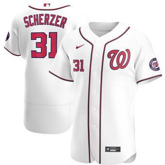 Men's Washington Nationals #31 Max Scherzer White Home 2020 Authentic Player Baseball Jersey
