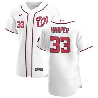 Men's Washington Nationals #33 Ryne Harper White Home 2020 Authentic Player Baseball Jersey