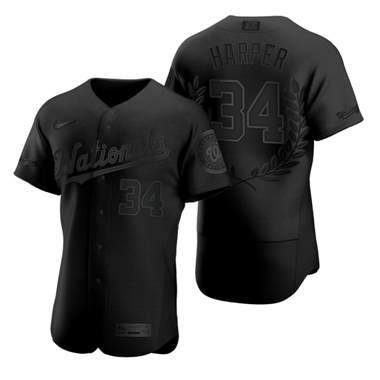 Men's Washington Nationals #34 Bryce Harper Black Baseball MVP Limited Player Edition Jersey