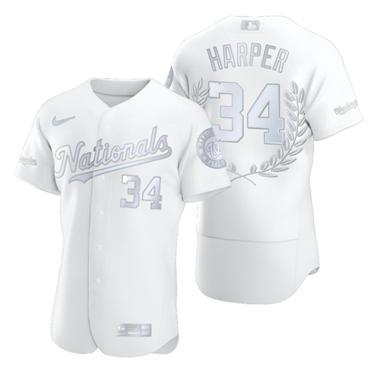 Men's Washington Nationals #34 Bryce Harper Platinum Baseball MVP Limited Player Edition Jersey