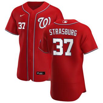 Men's Washington Nationals #37 Stephen Strasburg Red Alternate 2020 Authentic Player Baseball Jersey