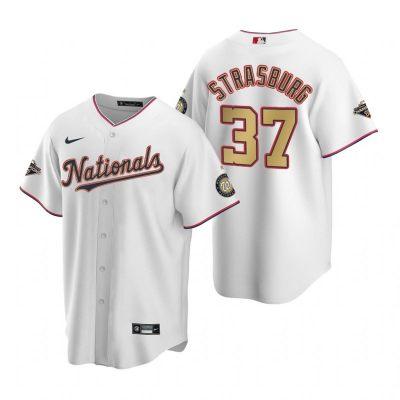 Men's Washington Nationals #37 Stephen Strasburg White Alternate 2020 Gold Program Baseball Player Jersey