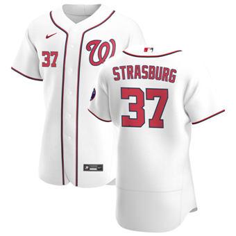 Men's Washington Nationals #37 Stephen Strasburg White Home 2020 Authentic Player Baseball Jersey