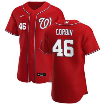 Men's Washington Nationals #46 Patrick Corbin Red Alternate 2020 Authentic Player Baseball Jersey