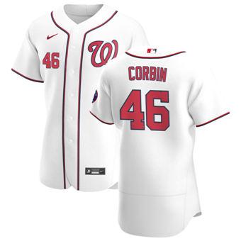 Men's Washington Nationals #46 Patrick Corbin White Home 2020 Authentic Player Baseball Jersey