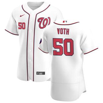 Men's Washington Nationals #50 Austin Voth White Home 2020 Authentic Player Baseball Jersey