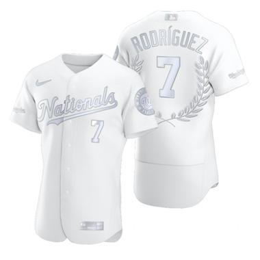 Men's Washington Nationals #7 Ivan Rodriguez Platinum Baseball MVP Limited Player Edition Jersey