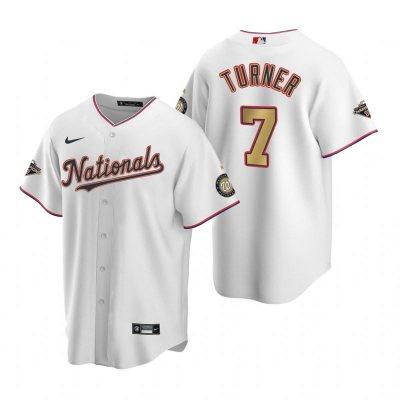 Men's Washington Nationals #7 Trea Turner White Alternate 2020 Gold Program Baseball Player Jersey