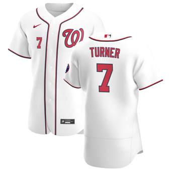 Men's Washington Nationals #7 Trea Turner White Home 2020 Authentic Player Baseball Jersey