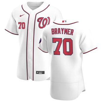 Men's Washington Nationals #70 Ben Braymer White Home 2020 Authentic Player Baseball Jersey