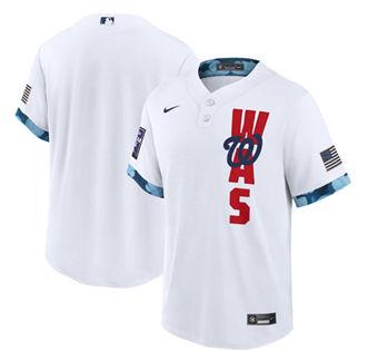 Men's Washington Nationals Blank 2021 White All-Star Cool Base Stitched Baseball Jersey