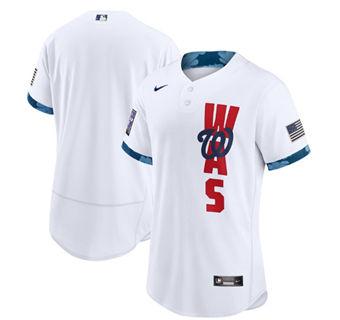 Men's Washington Nationals Blank 2021 White All-Star Flex Base Stitched Baseball Jersey
