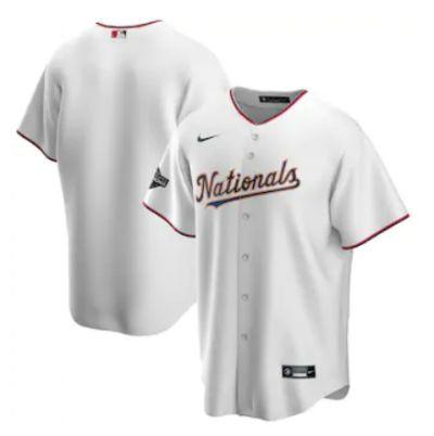 Men's Washington Nationals Blank White Alternate 2020 Gold Program Baseball Team Jersey