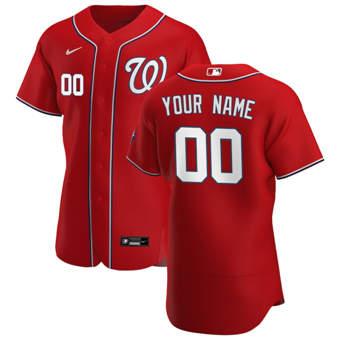 Men's Washington Nationals Custom Red Alternate 2020 Authentic Player Baseball Jersey