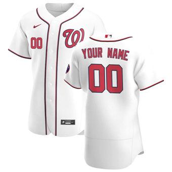 Men's Washington Nationals Custom White Home 2020 Authentic Player Baseball Jersey