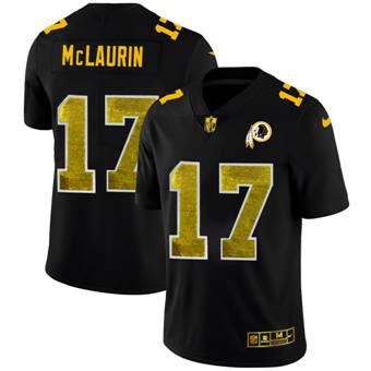 Men's Washington Redskins #17 Terry McLaurin Black Golden Sequin Vapor Limited Football Jersey