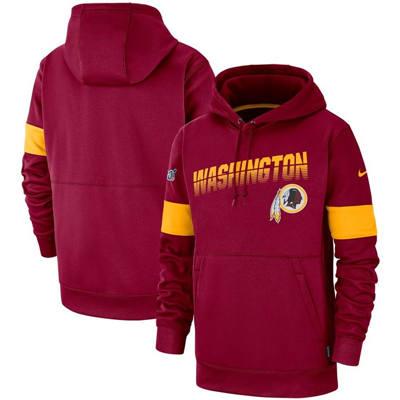 Men's Washington Redskins Sideline Team Logo Performance Pullover Hoodie - Burgundy