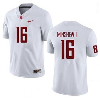 Men's Washington State Cougars #16 Gardner Minshew II White 2019 College Football Jersey