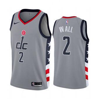 Men's Washington Wizards #2 John Wall Gray City Edition New Uniform 2020-21 Stitched Basketball Jersey
