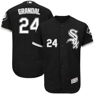Men's White Sox #24 Yasmani Grandal Black Flexbase Authentic Collection Stitched Baseball Jersey