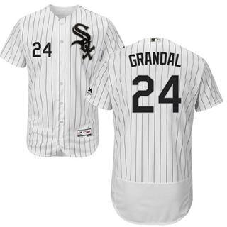 Men's White Sox #24 Yasmani Grandal White(Black Strip) Flexbase Authentic Collection Stitched Baseball Jersey