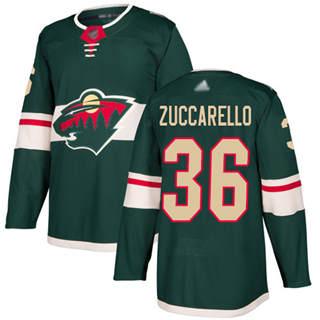 Men's Wild #36 Mats Zuccarello Green Home  Stitched Hockey Jersey