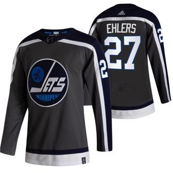 Men's Winnipeg Jets #27 Nikolaj Ehlers Black 2020-21 Reverse Retro Alternate Hockey Jersey