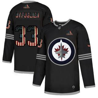 Men's Winnipeg Jets #33 Dustin Byfuglien Black USA Flag Limited Hockey Jersey