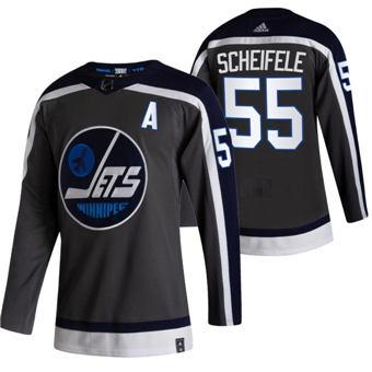 Men's Winnipeg Jets #55 Mark Scheifele Black 2020-21 Reverse Retro Alternate Hockey Jersey