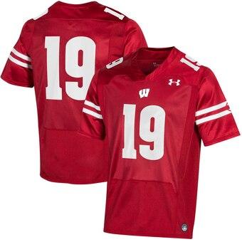 Men's Wisconsin Badgers #19 Wisconsin Badgers College Football Jersey - Red