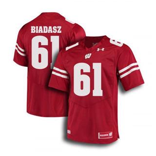 Men's Wisconsin Badgers #61 Tyler Biadasz Jersey Red NCAA 19-20