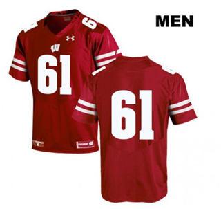 Men's Wisconsin Badgers #61 Tyler Biadasz No Name Red NCAA Jersey
