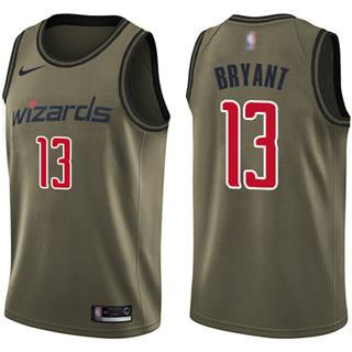 Men's Wizards #13 Thomas Bryant Green Basketball Swingman Salute to Service Jersey
