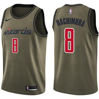 Men's Wizards #8 Rui Hachimura Green Salute to Service Basketball Swingman Jersey