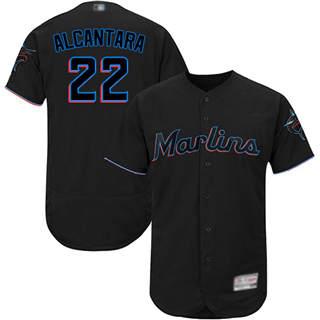 Men's marlins #22 Sandy Alcantara Black Flexbase  Collection Stitched Baseball Jersey
