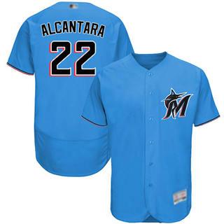 Men's marlins #22 Sandy Alcantara Blue Flexbase  Collection Stitched Baseball Jersey