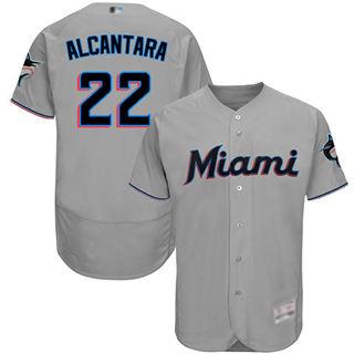 Men's marlins #22 Sandy Alcantara Grey Flexbase  Collection Stitched Baseball Jersey