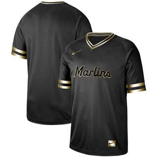 Men's marlins Blank Black Gold  Stitched Baseball Jersey
