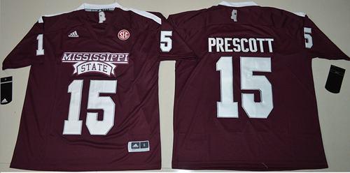 Mississippi State Bulldogs #15 Dak Prescott Maroon SEC Patch Stitched NCAA Jersey