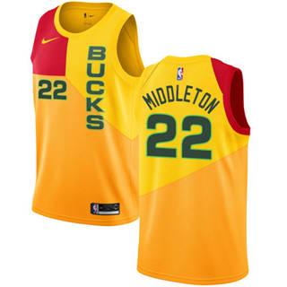 Bucks #22 Khris Middleton Yellow 2018-19 Swingman Basketball New City Edition Jersey